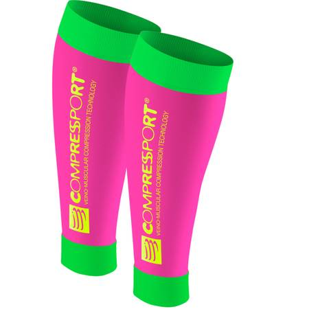 Compressport Calf R2 V2 Fluo (Race & Recovery) pink/green